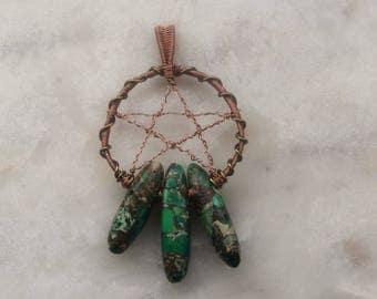 Jasper and Copper Pendant: Pentagram Dream Catcher