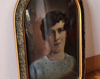 Antique Photo Frame in Wooden ART DECO Convex Glass