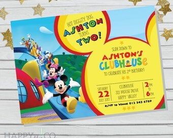 DIGITAL Mickey Mouse Clubhouse invitation & Gift Tag, Mickey Mouse party invitation, Mickey Mouse Clubhouse party invite