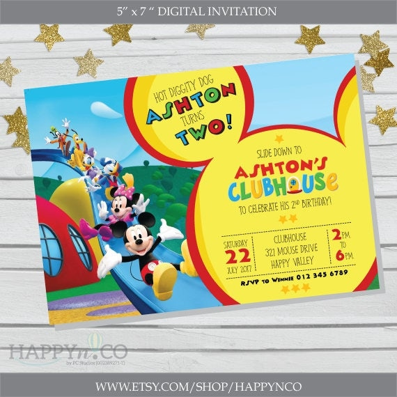 DIGITAL Mickey Mouse Clubhouse invitation Gift Tag Mickey