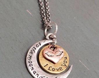 I love you, to the moon and back necklace.