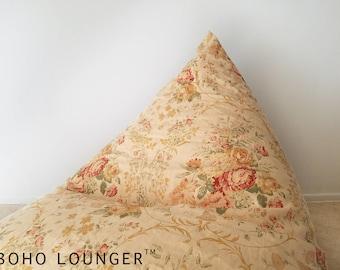 Vintage Tea-stained Floral Linen Boho Lounger®