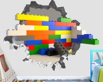 Lego Animated Wall Decal Lego Smashed Sticker Kids 3D Smashed Art OP572