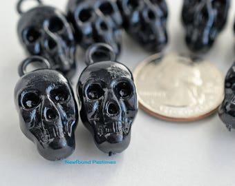 10 Black Plastic Skull Charms New Older Stock