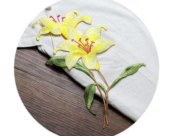 Yellow Blooming Flower Appliques, Embroidered Patches