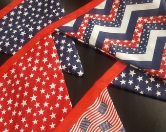 Flag Banner Red, White and Blue Stars and Stripes and Flags Fourth of July Patriotic Home decor Party Backdrop