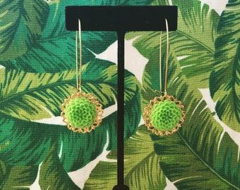Medallion Chrysanthemum Earrings Grassy Green