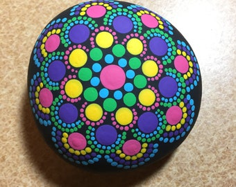 Handmade Dot Mandala Rock Painting, Rock Art, Dot Painting, Dotilism, Dot Art