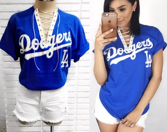 Los Angeles Dodgers Lace Up Tee Shirt