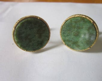 Antique Green Marble Stone & Gold Tone Cuff Links Nice