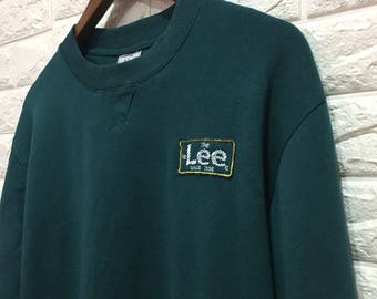 90s Sale! Lee embroidered sweatshirt / vintage lee sweater/ green men sweatshirts/ size m
