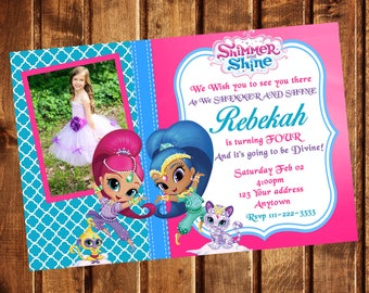 Shimmer and Shine Invitation, Shimmer and shine Birthday Party Invitation, Shimmer and Shine Invite, Printable, Digital file