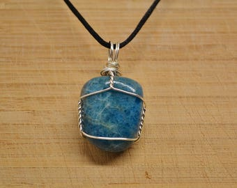 Apatite silver wire wrapped necklace tarnish resistant silver wire healing gemstone crystal handmade