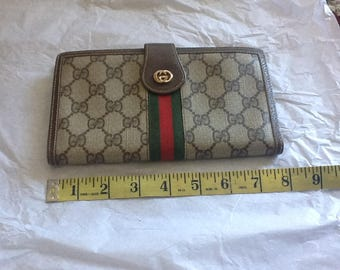 Authentic Vintage Gucci Trifold Wallet Brown Great Condition