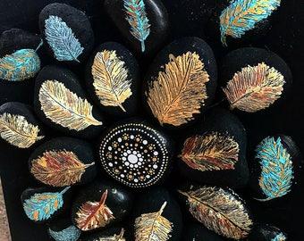 Rocks, Feather & Mandala Wood Canvas Panel