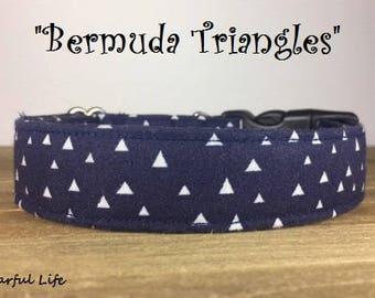 "Fun Navy Geometric Inspired Dog Collar - ""Bermuda Triangles"""
