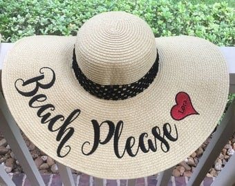 "EMBROIDERED ""Happily Ever After"" Custom Sun Hat, Honeymoon Beach Hat, Floppy Hat, Engagement Hat, Personalized Hat, Bride Gift, Girls Trip,"