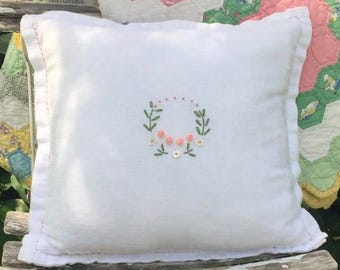 Sweet Baby Hand Embroidery Wreath on Vintage Linen Pillow