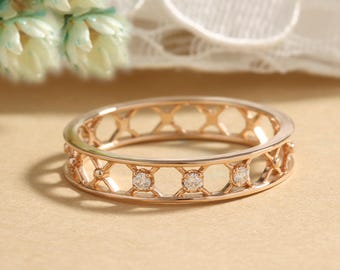 Art deco wedding band women rose gold Unique Vintage Double Diamond ring antique Delicate Criss  Hollow Promise Anniversary gift for her