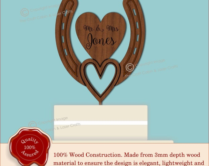 Horseshoe & Heart Cake Topper -  Personalised - Rustic Wooden, Vintage Weddings. Lucky Horseshoe