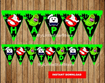 Ghostbusters Banner, Printable Ghostbusters Triangle Banner, Ghostbusters party Banner Instant download