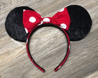 Minnie Mouse Ears - Minnie Ears - Disney Inspired Minnie Mouse Ears - Disney Minnie Ears - Minnie Mouse Disney Ears