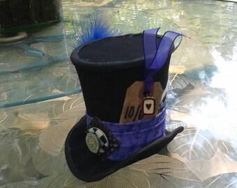 CUSTOM Made MadHatter hat.  Alice in Wonderland Hat. MadHatter Tea Party Hat. MINI mad hatter hat.  Hatter Costume.4x6 Top hat decoration.
