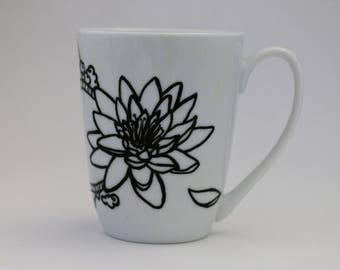 hand painted cup, koi carp and lotus flower