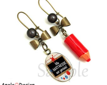 Earrings gift for the teacher - red black and white pencil bow bead