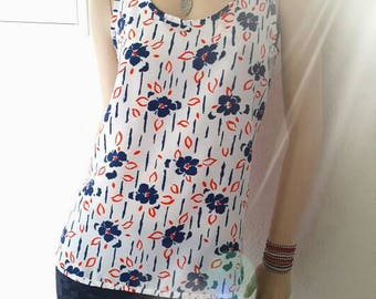 White flowers tank top red transparent blue on the back