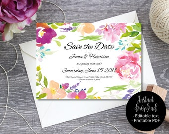 Printable Wedding Save the Date Invite, Wedding Save the Date Template, Editable Save Date PDF, DIY Save Date invite Flowers Border 6 SAVE-6