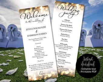 Wedding Program, Gold Wedding, Program Template, Gold Hearts, Ceremony Order Service Booklet Program, Church Civil Wedding Program Template