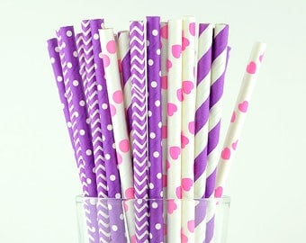 Purple/Pink Mix Paper Straws - Party Decor Supply - Cake Pop Sticks - Party Favor