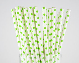 Green Dots Paper Straws - Party Decor Supply - Cake Pop Sticks - Party Favor