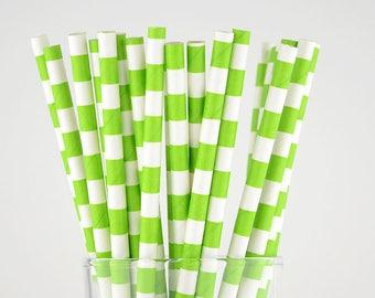 Grass Green Circle Paper Straws - Mason Jar Straws - Party Decor Supply - Cake Pop Sticks - Party Favor