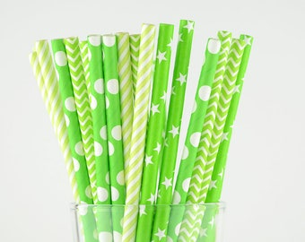 Bright Green/Lime Paper Straw Mix - Striped/ Stars/ Polka Dots/ Chevron - Party Decor Supply - Cake Pop Sticks - Party Favor
