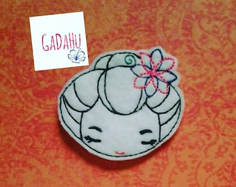 Japanese Cute Girl Face feltie. Embroidery Design 4x4 hoop Instant Download. Felties