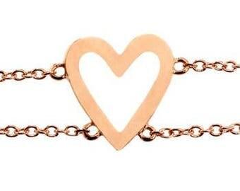 Rose Gold Open Heart Bracelet