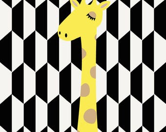 Decorative baby giraffe retro poster