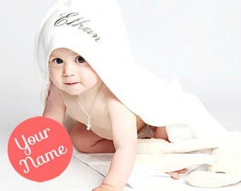 Personalised Baby Hooded Towel - White Baby Hooded Towel
