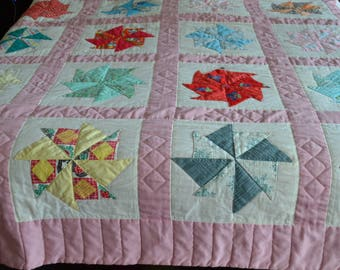 Vintage Homemade Quilt Patchwork Colorful Grandma 98 X 100