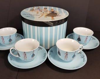 New Vintage Rosanna Teacups Saucers Set of 4 Donna Di Moda