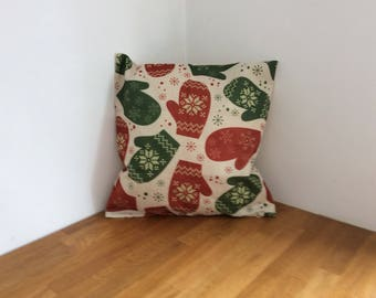 Festive Mittens Christmas Cushion