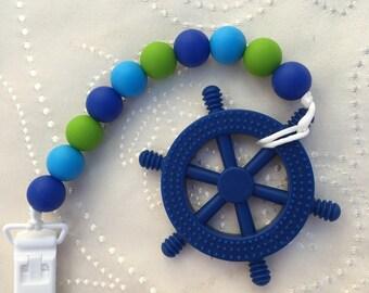 Ship Wheel Teether, Blue Ship wheel Teether, Silicone Teether, Silicone Soother Clip, silicone Pacifier clip, Soother Clip, Pacifier Clip