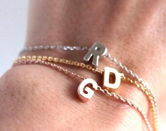 Dainty Lowercase Initial Bracelet I Gold Initial Bracelet I Initial and Heart Bracelet I Initial Bracelet