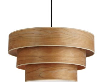 Wood pendant Sotto Luce TSURI 3 with natural wood veneers Lampshade: walnut, church or white beech