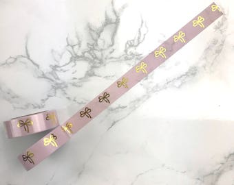 Pink Gold Foiled Cupid Bow Washi Tape