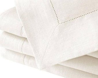 "Hemstitch 72"" Sq white tablecloth"