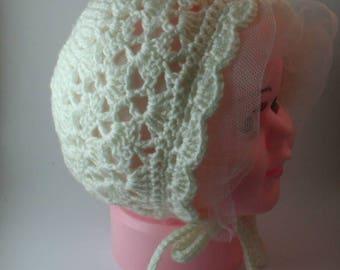 Crochet baby bonnet, booties, hats for babies, christening bonnets, christening hat, christening bonnet, baby bonnet, baby bonnets