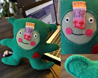 Gilbert - wool handmade stuffed toy from recycled sweater